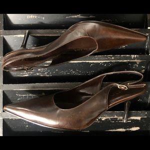 ALDO Leather Pointy Toe Slingback Kitten Heels